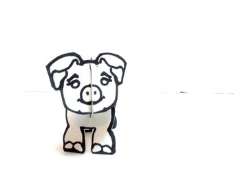 Color-in and Make Pig - Printable Toy
