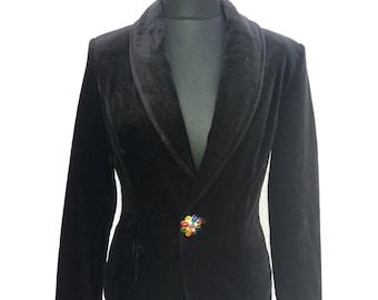 Black Velveteen Jacket Womens Long Sleeves Large Size