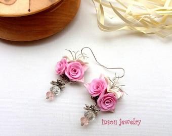 Pink Earrings, Flower Earrings, Rose Earrings, Wedding Earrings, Statement Earrings, Bridesmaid Earrings, Romantic Jewelry, Gift For Women