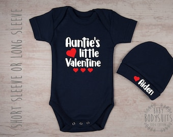 Auntie's Little Valentine Bodysuit & Personalized Hat Set, Valentine's Day Gift, Baby Boys' Clothes, Baby Girls' Clothes, Aunt Baby Clothes