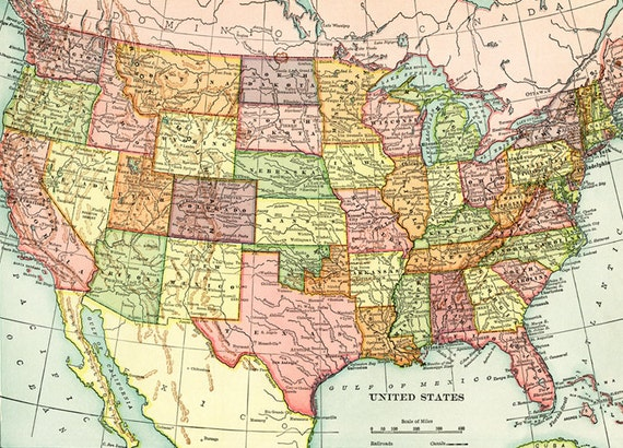 Old map of United States of America map Digital download - Vintage ...