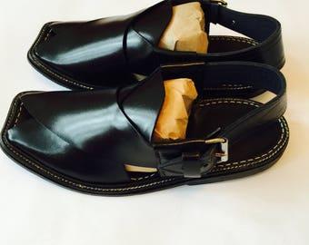 Authentische schwarz Mens afghanischen Schuhe authentische Leder Sandalen Wüste Kleid arabische Islam