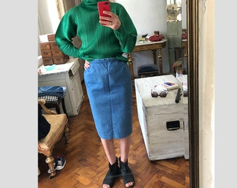 Vintage 38/ M/ denim skirt / jeans Made in Denmark / knee length high waist
