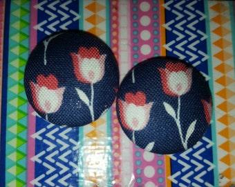 Flower Print Button Earrings, Perfect Earrings, Button Earrings, Stud Earrings, Fabric Covered Button Earrings, Gift