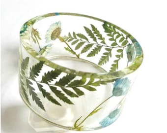 Large Bangle Bracelet, Resin Pressed Flower Jewelry, Botanical Bracelet, Nature Jewelry, Gift For Her, Size Large, Summer Jewelry, Handmade