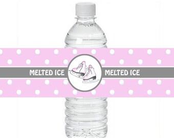 Ice Skate Water Bottle Labels ~ Instant Download ~ Printable