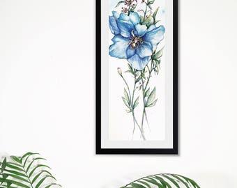 Blue Poppy Flowers art, watercolor original painting, flower artwork, wall art , gift , spring art