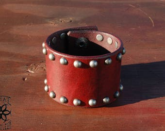 """2"""" Crimson Blood Red Dome Studded Cuff  <Made-to-Order>"""