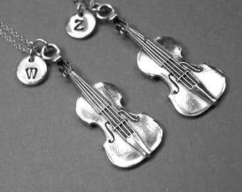Violin Necklace, violin charm, best friends necklace, music necklace, BFF necklace, friendship jewelry, sister, personalized, initial charm
