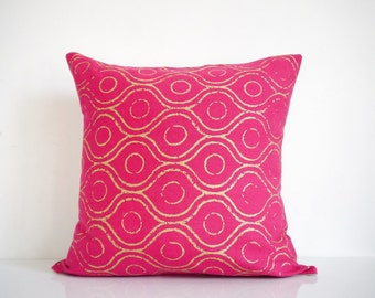 Pink pillow - metallic gold print on pink organic cotton, bohemian pillow, hot pink pillow