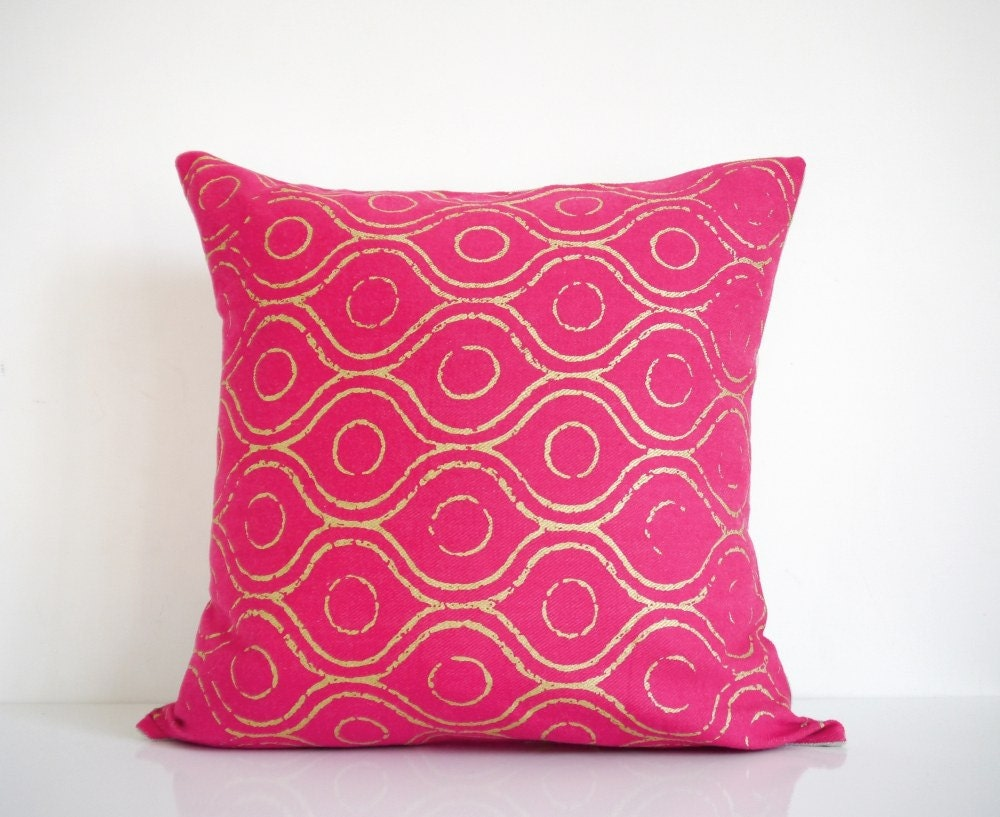 🔎zoom. pink pillow metallic gold print on pink organic cotton