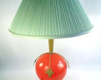 Mid Century Orange Glass Ball Table Lamp W Pale Green Shade Mod
