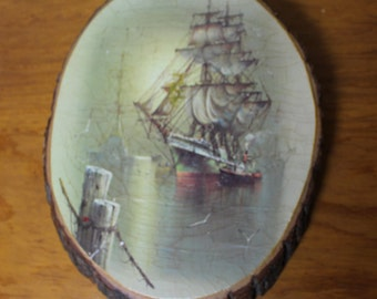 Vintage Tall Ship Print Mounted on Natural Basswood Round Plaque