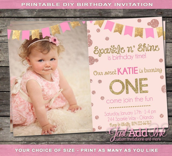 Pink and gold first birthday invitation pink and gold like this item filmwisefo Choice Image
