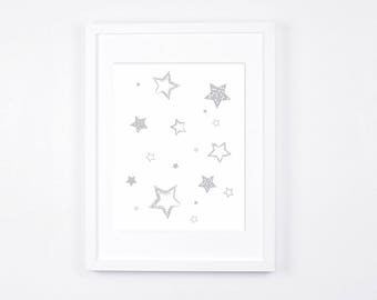 Grey and White Nursery Art Printable, Stars Art, Modern Wall Art, Gray Nursery Digital Print, Scandinavian Baby Room Decor