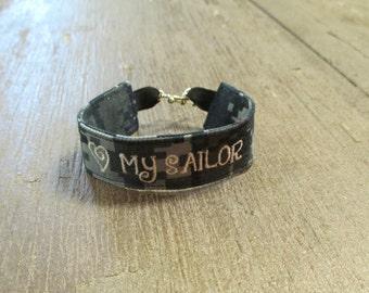 Navy Name Tape Military Bracelet, Navy Camo Bracelet, Custom Navy Jewelry, Navy Gifts