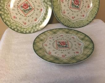 Three Vintage Rose Dinner Plates by Sadek