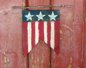 American Flag Wall Hanging, Flag Pennant, Americana Farmhouse, Painted Flag Sign, Primitive Wall Decor, Rustic Home Decor - READY TO SHIP