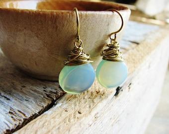 Blue Opalite Earrings, Wire Wrapped Earrings, Opalite Briolette Earrings, Seafoam Green Glass Earrings, Glass Earrings