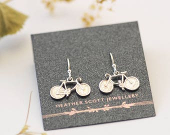 Bicycle earrings, bike earrings, silver earrings, Uk Seller