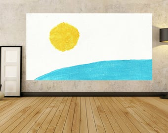 LAKE Landscape Painting Acrylic Painting Abstract Painting Large blue and White Yellow XL Wall Art Painting Modern Fine Art Contemporary art