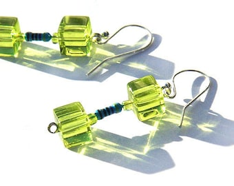 Statement Jewelry Ideas Tiny Blue Resistor Lime Green Glass Cube Wearable Tech Earrings Computer Eco Friendly Jewelry Upcycled Electronic