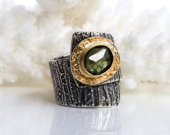 Green Sapphire Stone Ring , Fused Ring, One of a kind, Handmade, Green stone,