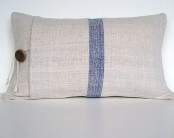 "Antique-Vintage Grain Sack Lumbar Bolster Pillow Cover/ 13""x21"""