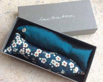 Box of lavender sardine drawer scenters, blue floral Liberty Tana Lawn and silk lavender bags in gift box