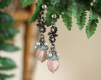 Pastel Peach and Blue Earrings, Antiqued Silver, Dangling Earrings, Sunstone, Gemstone Earrings, Fancy Earrings, Dressy, Mother's Day