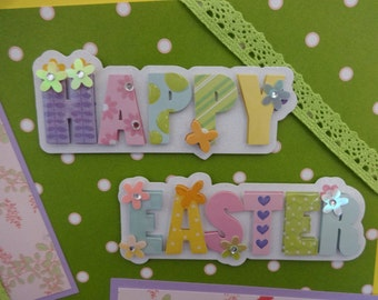 Happy Easter 12X12 scrapbook page for boy or girl eggs flowers bunnies multiple pictures