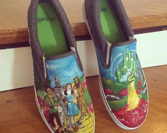 Wizard of Oz Hand Painted Shoes - Wizard of Oz - Emerald City -