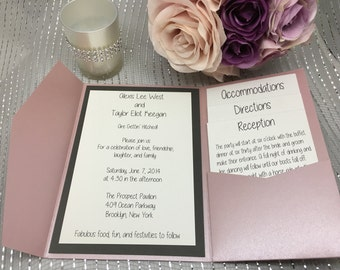 Blush & Dark Grey Wedding Invitations - Custom Wedding Invites - Formal Wedding Invitation Set