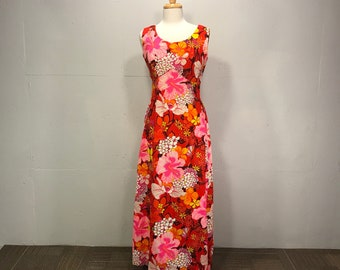 Royal Hawaiian floral maxi dress 60s Island Resort gown red pink Hibiscus floral dress