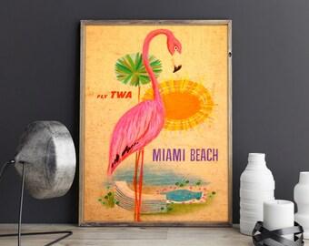 Miami Poster Florida Poster Vintage Miami Poster Miami Print Florida State Art Poster Florida Print US Wall Art Vintage Florida travel Print