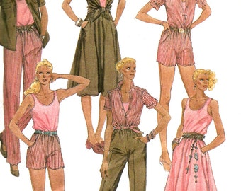 1980s Skirt Pattern Top Yoked Shirt Elastic Waist Pants McCall's Vintage Sewing Women's Misses Size 14 Bust 36 Inches