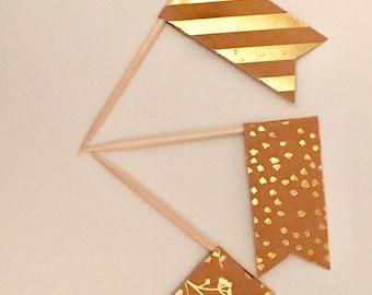 Gold Foil Cupcake Flags, Kraft Flags