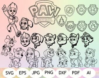 24 Outline Paw Patrol SVG, Paw Patrol Silhouette, Paw Patrol Cricut, Instant Download
