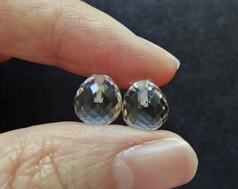 Rock Crystal Quartz Half drilled Faceted Fat Bulb Drops 8x9 mm One Pair Perfect for earrings G7290
