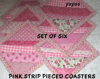 COASTERS, PINK,  PATCHWORK,  Set of Six,  Home Décor, Holiday Décor,  Gifts for Women,  Hostess Gift, Birthday, Table Decor