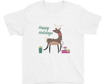 Happy Holidays Reindeer Youth Short Sleeve T-Shirt