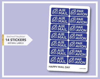 Air Mail Par Avion stickers - 14 stickers for mail letters