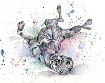 Greyhound art, PRINT, greyhound painting, greyhound gifts, gifts for dog lovers, colourful dog art, funny greyhound, watercolour greyhound