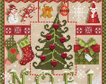 French cross stitch patterns & buttons : Petits Coeurs de Noel Little Christmas Hearts Madame La Fee counted hand embroidery