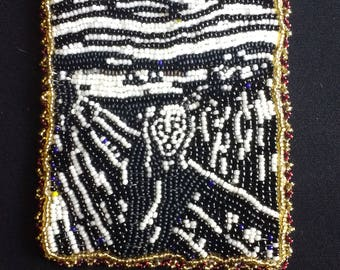 Fully beaded picture,  The Scream in black and white.