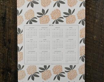 SALE Vermont Clover 2018 Letterpress Wall Calendar