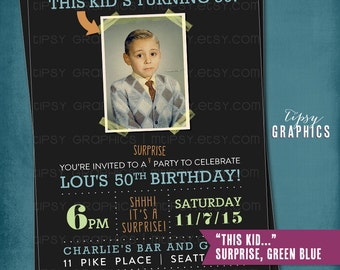 Milestone Surprise Birthday Party Invite. This  Kid's Turning 50. Perfect with Old School Baby Photo by Tipsy Graphics. Any age, any colors