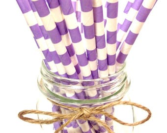 25 Lavender Stripes paper straws // baby bridal shower decorations // candy dessert buffet table // wedding // First birthday/new year party