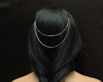 Gold Bead Hair Chain Dainty Head Chain, Boho Chic Chain Headpiece 14k Gold Plated Hair Chain Accessories Gypsy Hair Piece Chain Hair Jewelry