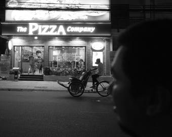A man checking out on Pizza, Nha Trang Street Vietnam in Black and White Instant Digital Download  Personal or Commercial Use